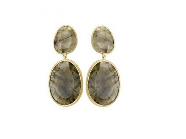 18K YG over Sterling Labradorite Post Earrings by Elan Fashion