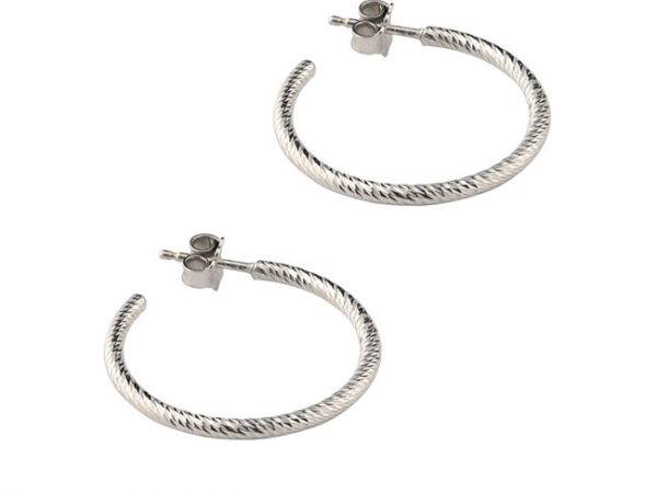 "Sterling 1"" Sparkle Hoop Earring by Frederic Duclos"