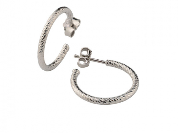 "Sterling 3/4"" Sparkle Hoop Earring by Frederic Duclos"