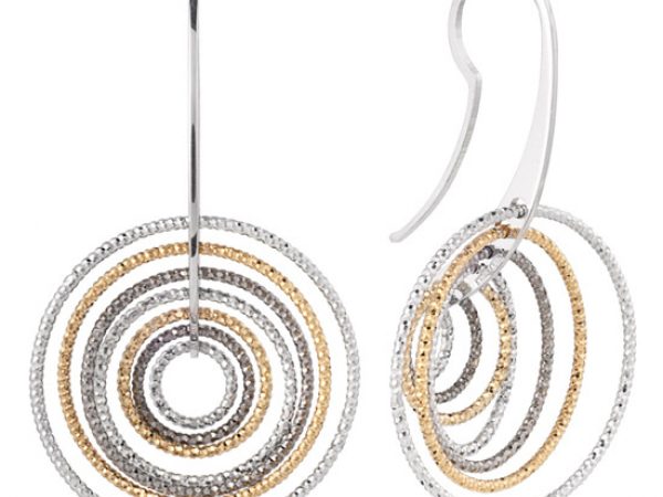 Sterling Tricolor 3D Twist Earring by Frederic Duclos