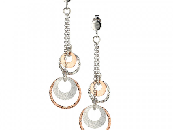 SS Rose Gold Plated Circle Dance Earrings by Frederic Duclos