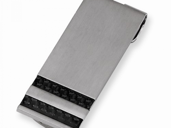 Stainless Steel Black Carbon Fiber Money Clip by Chisel
