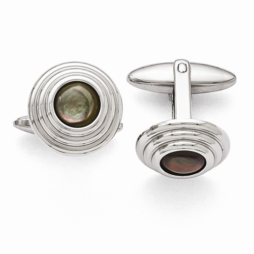 Stainless Steel Black MOP Cuff Links by Chisel