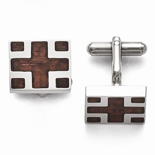 Stainless Steel Wood Inlay Cuff Links by Chisel