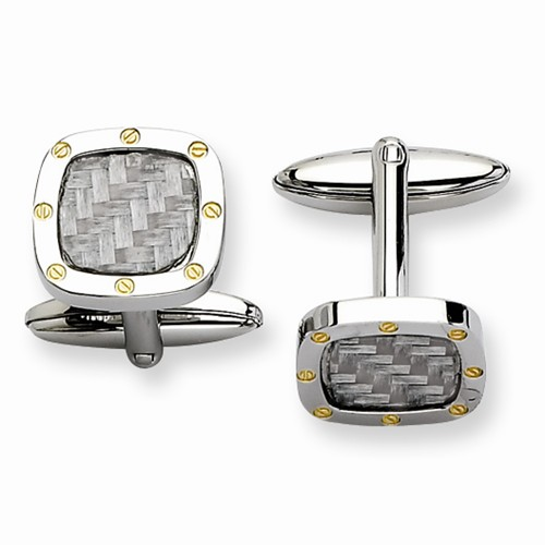 Stainless Steel Grey Carbon Fiber Cuff Links by Chisel