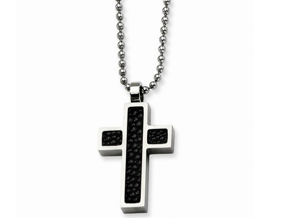 "Stainless 24"" Chain w/Stingray Cross Pendant by Chisel"