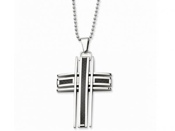 "Stainless 24"" Bead Chain w/Carbon Fiber Cross by Chisel"