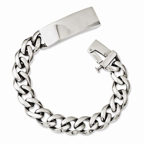 Stainless Steel w/Polished ID Plate Bracelet by Chisel