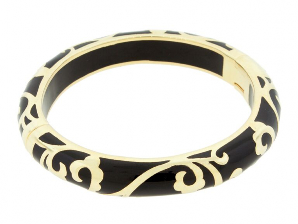 18K YG Plated Black Scroll Bracelet by Andrew Hamilton Crawford