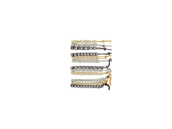 Square and Round Slide Tennis Bracelet in Gold Tone by Andrew Hamilton Crawford