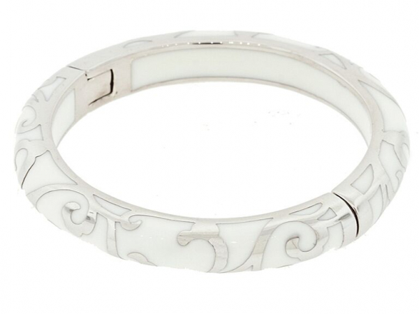 Rhodium Plated White Scroll Bracelet by Andrew Hamilton Crawford