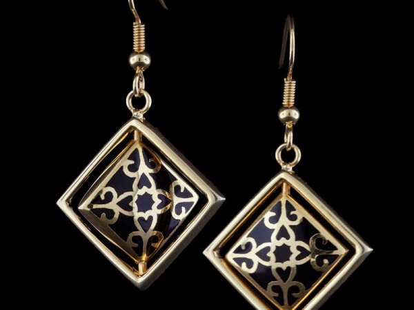 Gold Tone Diamond Shape Spinner Earring in Black by Andrew Hamilton Crawford