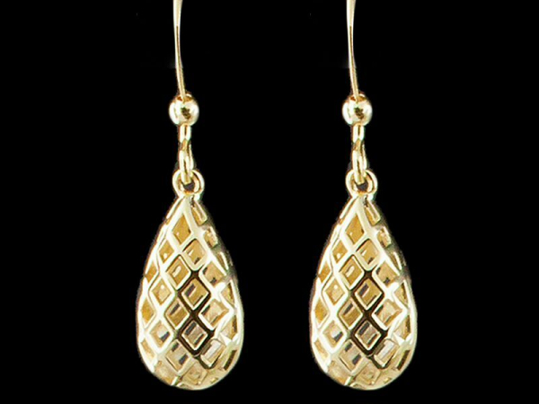 Open Lattice Earring in Gold Tone by Andrew Hamilton Crawford
