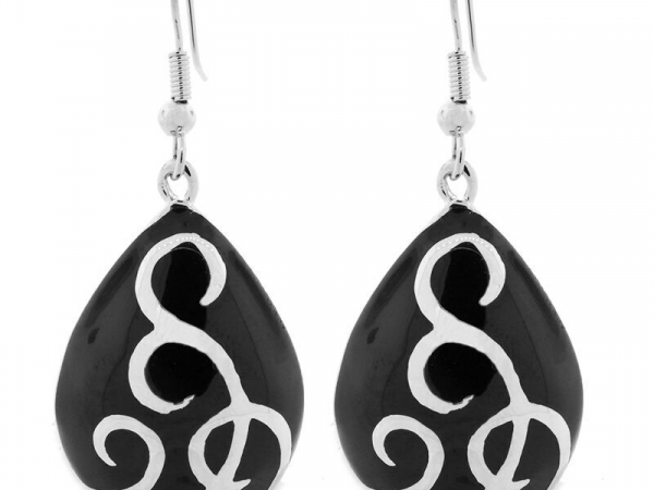 Stainless Ballgown Earring in Silver Black by Andrew Hamilton Crawford