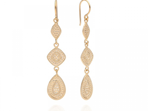 Gold Plated Silver Teardrop Triple Drop Earrings by Anna Beck