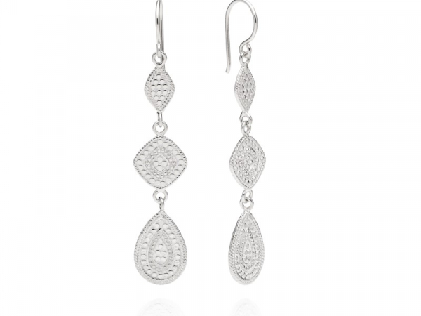 Silver Teardrop Triple Drop Earrings by Anna Beck