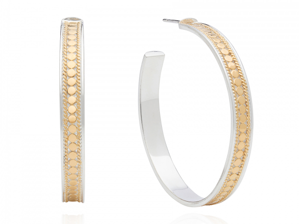 "Large Gold Plated Hoop Earrings 1.5"" by Anna Beck"