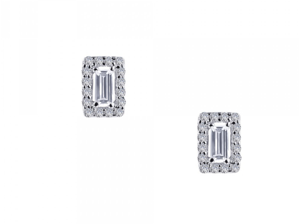 SS bonded with platinum baguette studs w/ simulated diamonds 1/2ctw by Lafonn
