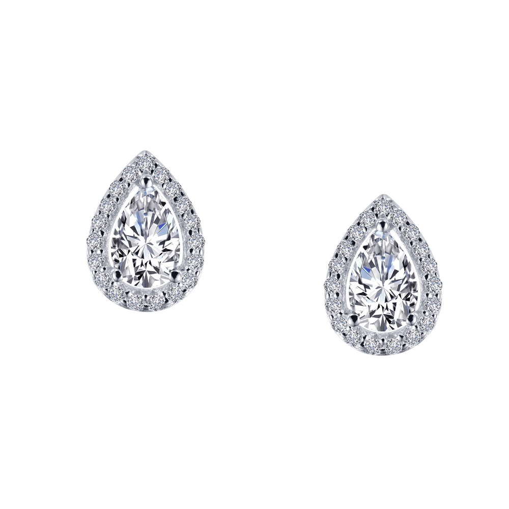 SS bonded with platinum pear studs w/ simulated diamonds 1 1/6ctw by Lafonn