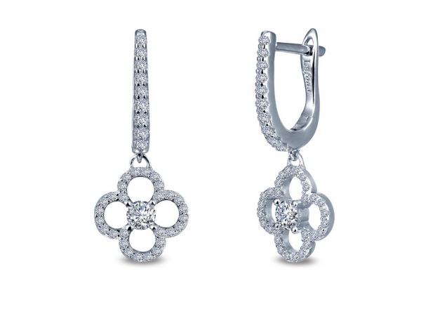 SS bonded with platinum clover earrings w/ simulated diamonds 1.00ctw by Lafonn