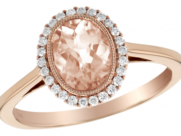 14k Rose Gold Oval Morganite and Diamond Halo Ring by Allison Kaufman