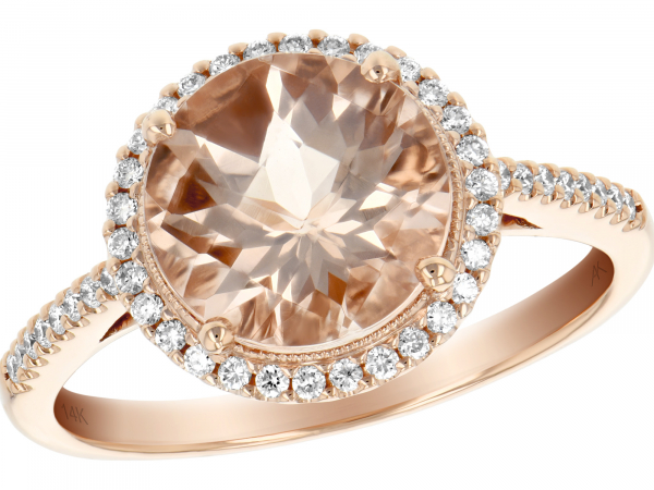 14k Rose Gold Round Morganite and Diamond Halo Ring by Allison Kaufman