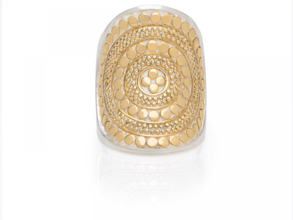 Gold Plated Silver Beaded Saddle Ring by Anna Beck