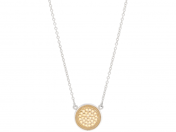"Gold/Silver Plated Disc Necklace 16-18"" by Anna Beck"