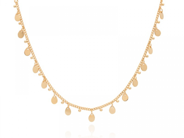 "Gold Plated Silver Teardrop Charm Necklace 12-14"" by Anna Beck"