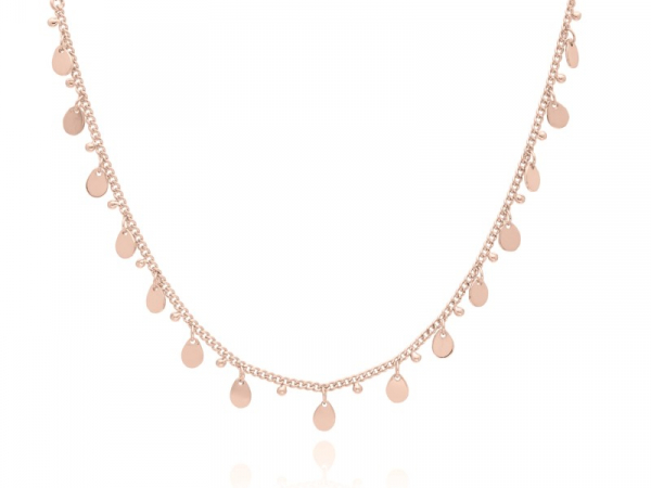 "Rose Gold Plated Silver Teardrop Charm Necklace 12-14"" by Anna Beck"