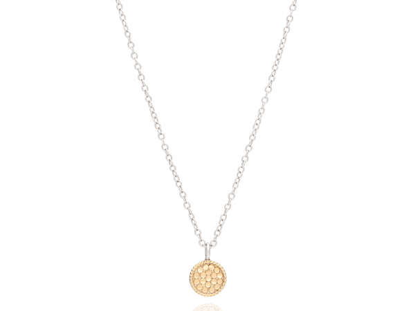 "Gold Plated Silver Mini Circle Necklace 16-18"" by Anna Beck"