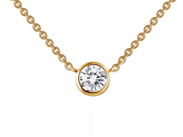 "SS Gold Plated bezel-set solitaire necklace 3/8ctw 18"" by Lafonn"