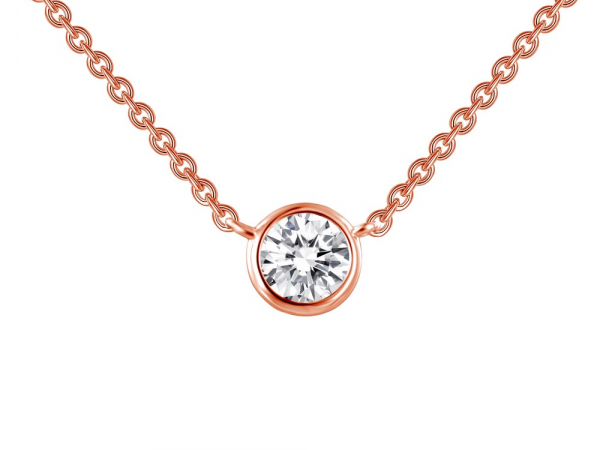 "SS Rose Gold Plated bezel-set solitaire necklace 3/8ctw 18"" by Lafonn"