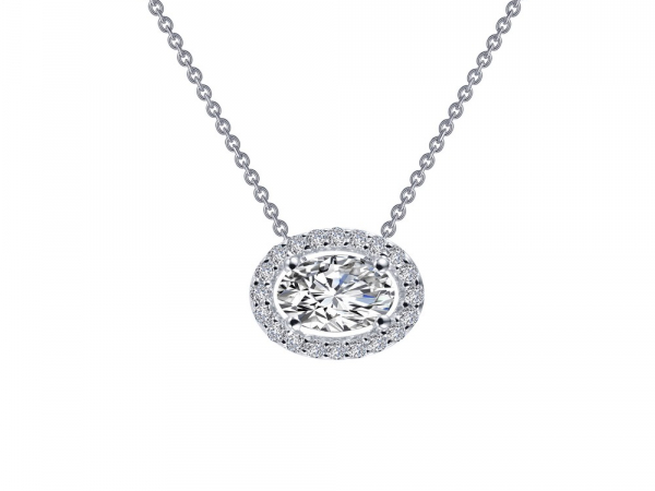 "SS bonded with platinum Halo necklace w/ simulated diamonds 5/8ctw 18"" by Lafonn"