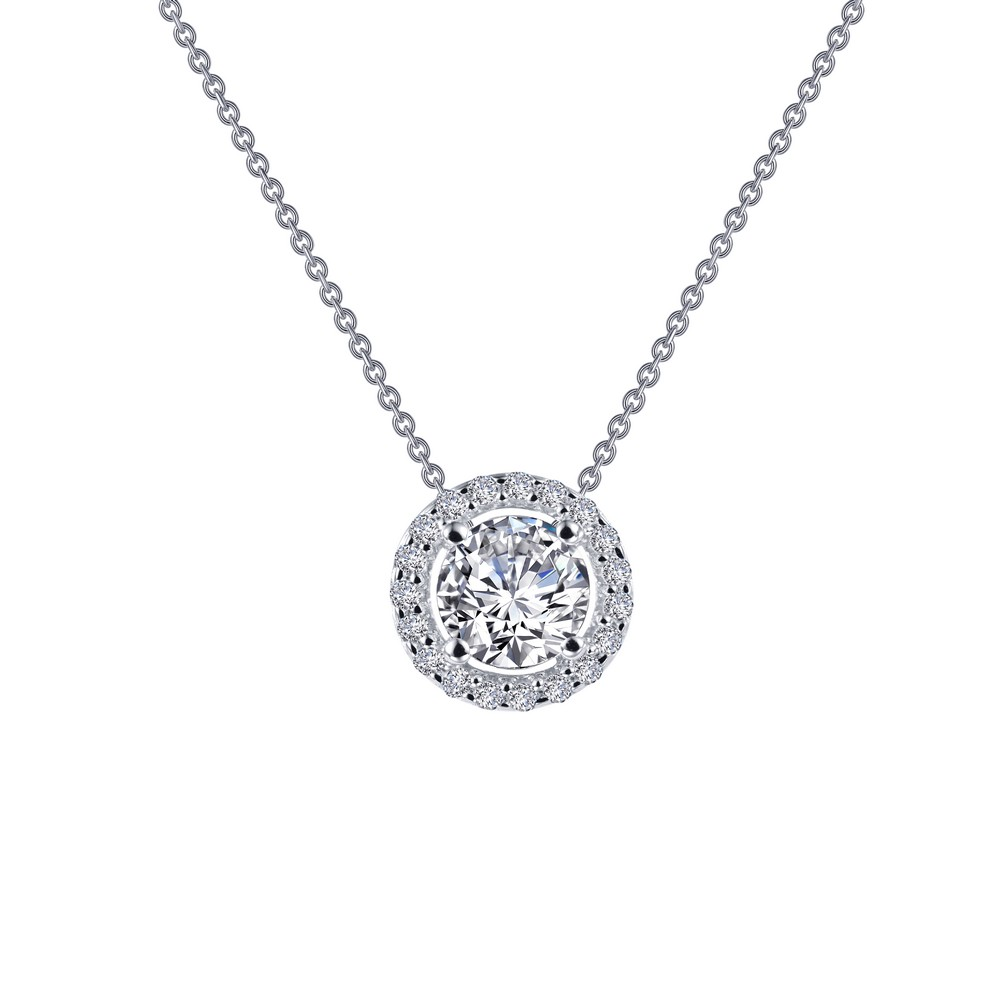 "SS bonded with platinum round halo necklace w/ simulated diamonds 5/8ctw 18"" by Lafonn"