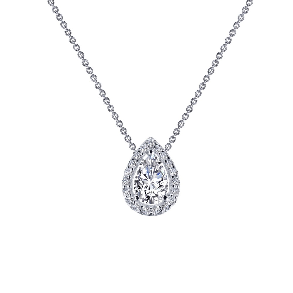 "SS bonded with platinum pear halo necklace w/ simulated diamonds 5/8ctw 18"" by Lafonn"