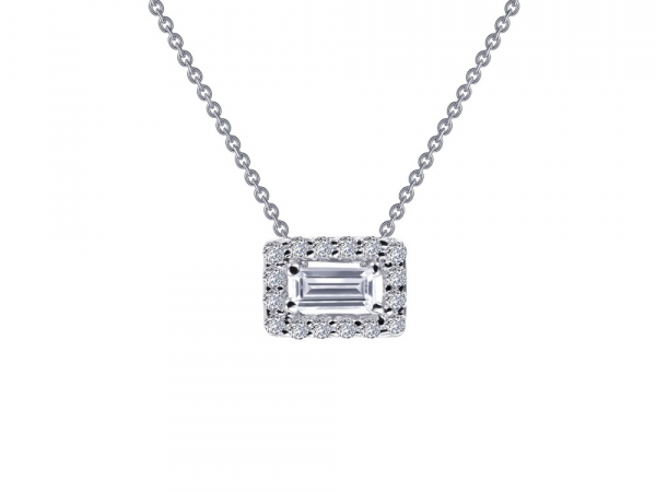 "SS bonded with platinum baguette halo necklace w/ simulated diamonds 1/4ctw 18"" by Lafonn"