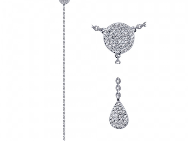 "SS bonded with platinum pave tear drop Y- necklace w/ simulated diamonds 1/2ctw 17"" by Lafonn"