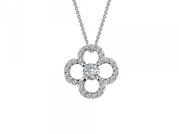 "SS bonded with platinum clover necklace w/ simulated diamonds 1/2ctw 18"" by Lafonn"