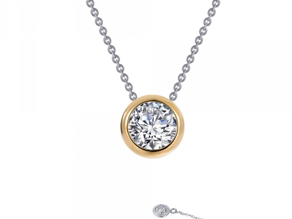 "SS bonded with platinum adjustable bezel solitaire necklace w/ simulated diamonds 3/4ctw to 18"" by Lafonn"